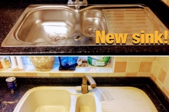 New kitchen sink before and after